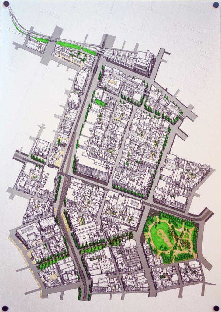 市街地平川の、1930年代の風景を描いた鳥瞰図(中田匠 作)